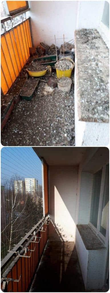 Czyszczenie ptasich odchodów - balkonu przed i po usłudze - Top Protect